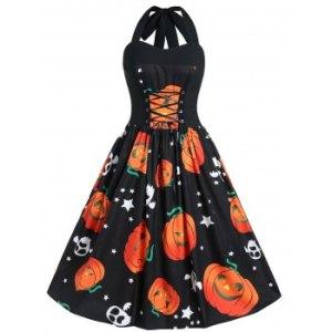 Plus Size Halloween Pumpkin Print Vintage Dress