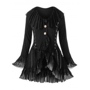 Plus Size Layered Ruffled Lace Up Coat