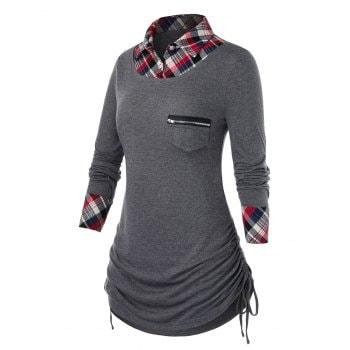 Plus Size Shirt Collar Plaid Patchwork Tunic Top