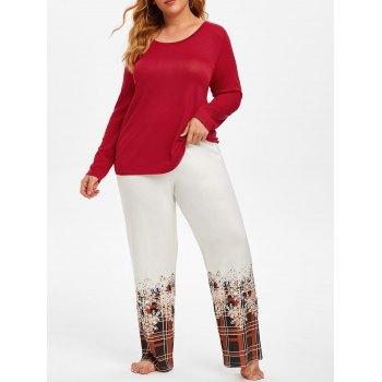 Plus Size T Shirt and Plaid Pants Christmas Sleepwear Suit