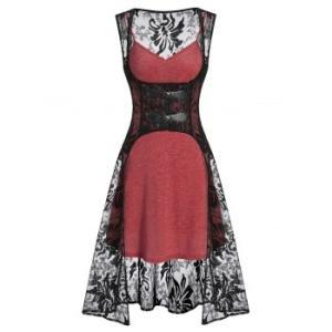 Plain Cami Dress and Buckle Strap High Low Lace Vest