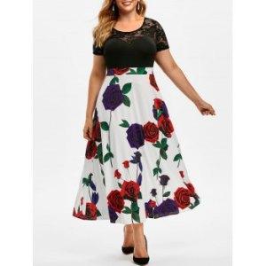 Plus Size Flower Pattern Lace Sheer Yoke Long Dress