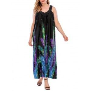 Plus Size Feather Print Sleeveless Maxi Dress