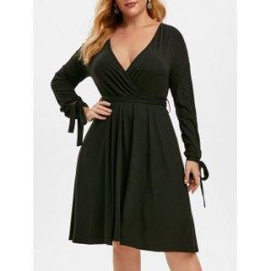 Plus Size Lace Insert Tie Sleeve Plunge Dress