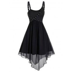 Punk Asymmetrical Marled Flare Dress