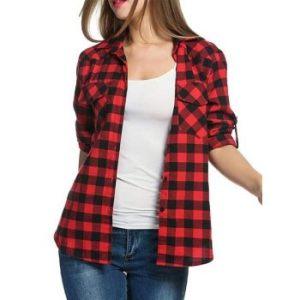 Gingham Pocket Roll Up Sleeve Shirt