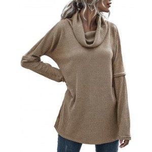 Cowl Neck Rib-knit Tunic Knitwear