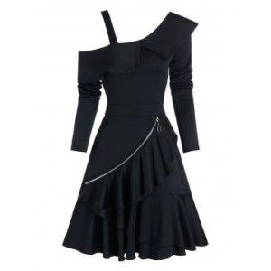 Plain Open Shoulder O-ring Zip Layered Mini Dress