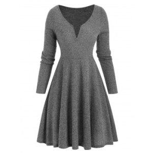 V Notched High Waist Mini Knitwear Dress