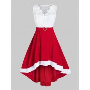 Plus Size Lace Insert Velvet High Low Party Dress