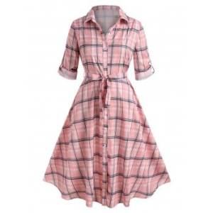 Plus Size Roll Up Sleeve Plaid Shirt Dress