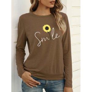 Sunflower Smile Graphic Long Sleeve T-shirt