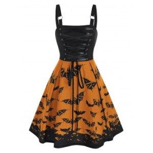 Lace Up Bat Print High Waist Cami A Line Dress