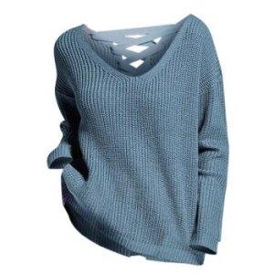 Lace Up Drop Shoulder V Neck Sweater