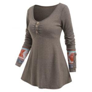 Geo Mock Button Long Sleeve T-shirt