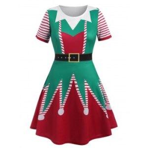 Plus Size Christmas 3D Printed Dress