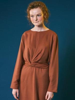 Retro ribbon dress [brown]-0001