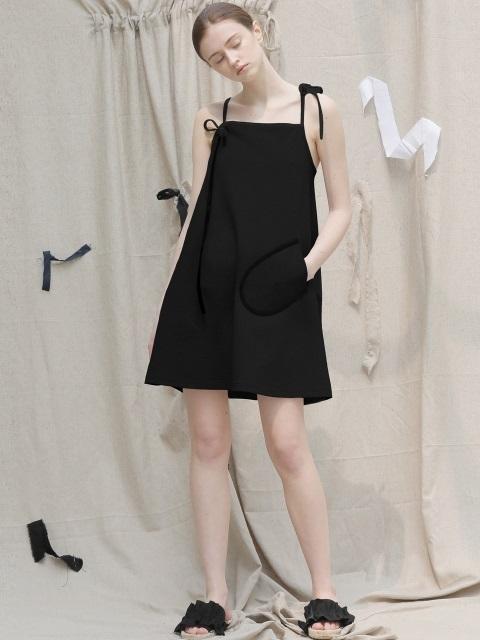 17 SUMMER ribbon a-line dress (black)-0001