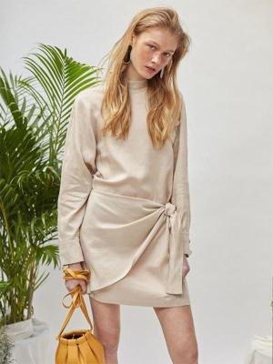 18SS DENIM BUTTON SHIRTS DRESS - BEIGE-0001