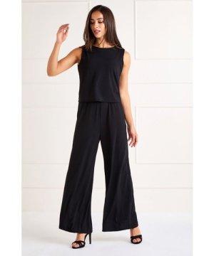 Mela London Black Slinky Jersey Overlay Jumpsuit