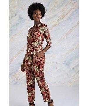 Yumi Animal Stripe Print Jersey Jumpsuit