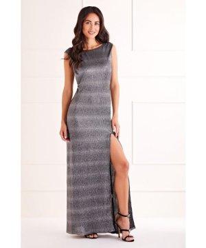 Mela London Black Side Slit Shimmer Maxi Dress
