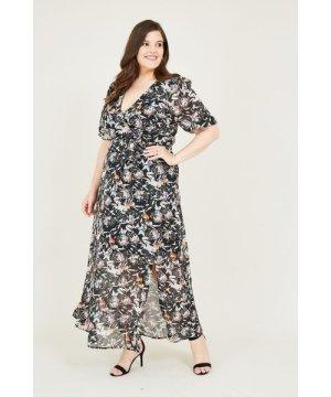 Yumi Curves Black Lurex Floral Midi Dress