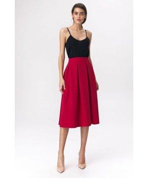 Nife Flared red skirt midi