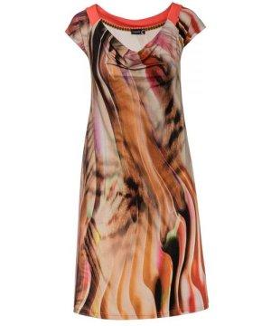 Conquista Drape Neck A Line Print Dress