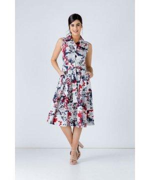 Conquista Navy Floral Print Dress with Belt