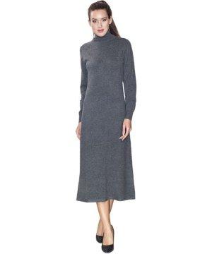 Assuili Turtleneck Midaxi Dress in Grey