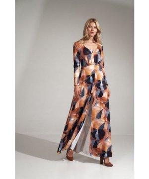Figl Long flared dress in a geometric pattern