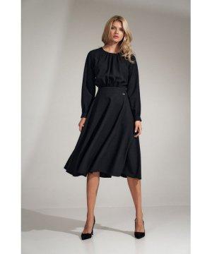 Figl Black flared midi dress