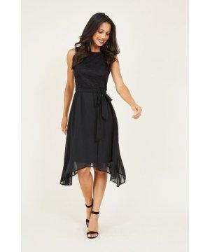 Mela London MELA LONDON Sleeveless Lace Top Asymmetric Dress