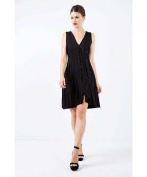 Conquista A Line Sleeveless Black Jersey Dress