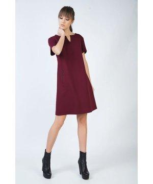 Conquista Burgundy Sack Dress in Stretch Punto di Roma Fabric