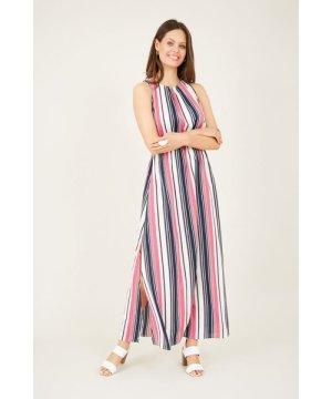 Mela London Striped High Neck Maxi Dress