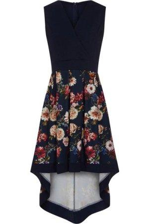 Mela London Curve Flower Bouquet Wrap Front High Low Dress