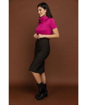 Conquista Fitted Dark Grey Stretch Skirt by Si Fashion