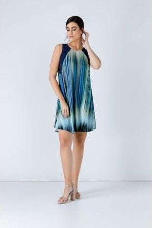 Conquista Navy Blue Striped Dress