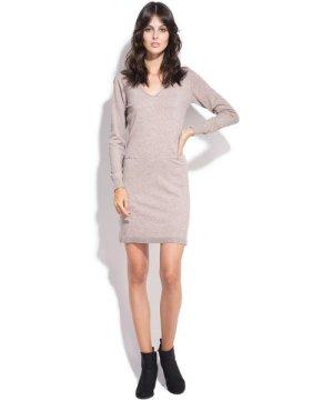 Assuili V-neck Dress with Shoulder Buttons in Beige