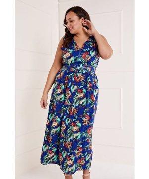 Mela London Curve Zip Detail Tropical Maxi Dress