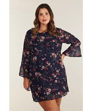 Yumi Curves Navy Plus Size Daisy Print Tunic Dress