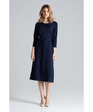Figl Navy Three-Quarter Sleeve Midi Dress