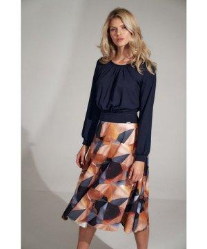 Figl Navy with geometric pattern flared midi dress