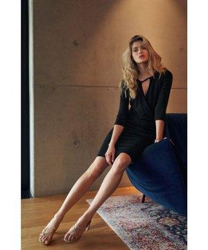 Figl Black Casual Midi Dress With Wrap Neckline