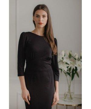 Lenitif Black Fitted Midi Dress