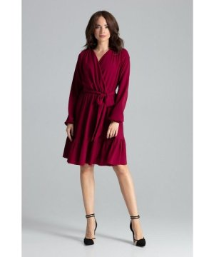 Lenitif Deep Red Midi Dress With Long Sleeves