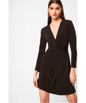 Skye Slinky Twist Front Jersey Dress - black