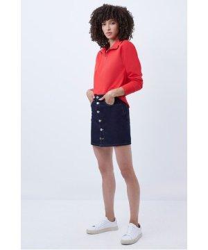 Reo Denim Button Front Mini Skirt - rinse
